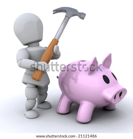 Someone about to smash open their piggy bank - stock photo