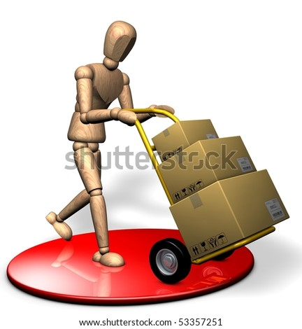 Someone is delivering boxes with a trolley - stock photo