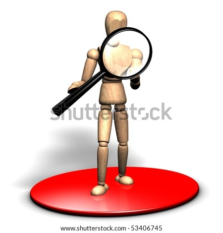 Someone is looking into a big magnifier on the red stage - stock photo
