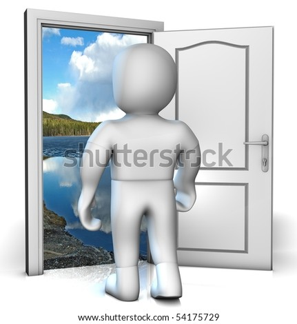 Someone is looking into the future in front of opened doors - stock photo
