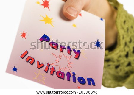 Someones hand giving party invitation isolated stock photo edit now someones hand giving a party invitation isolated on white background stopboris Gallery