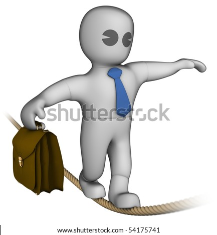 Someone walking on a rope. Holding balance. - stock photo