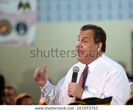 SOMERVILLE,NEW JERSEY-MARCH 10,2015:New Jersey Governor Chris Christie Conducted his 130th Town Hall Meeting at Van Derveer School on March 10,2015 in Somerville,NJ.