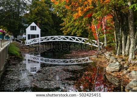 SOMESVILLE- OCTOBER 12 :  From Village of Somesville is this most photographed bridge and museum building with early morning lights during Autumn season in Somesville, USA on October 12, 2016