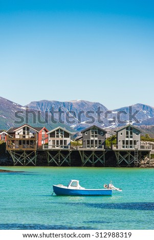 Sommaroy, a populated island located about 36 kilometres west of the city of Tromso in the western part of Troms county, Norway. - stock photo