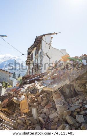 Sommati of Amatrice,Italy. 29 April 2017. The damage caused by the earthquake that hit central Italy in 2016. Sommati of Amatrice,Italy. 29 April 2017