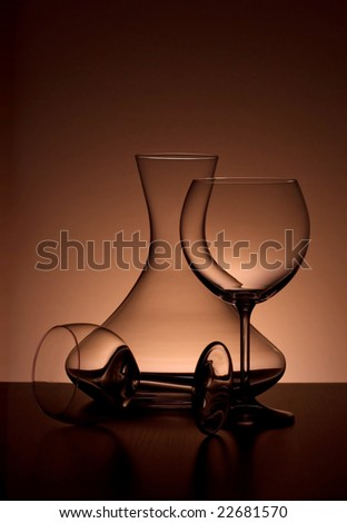 Sommelier glass backlited, elegant composition, top space for text - stock photo