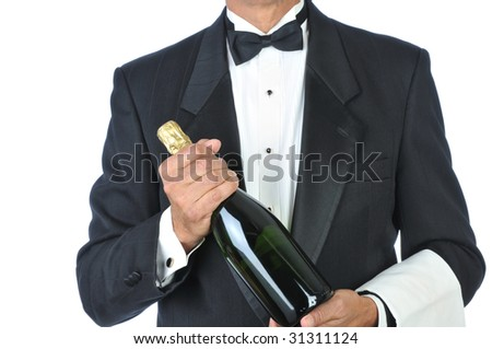 Sommelier Holding Bottle of Champagne isolated on white Torso Only - stock photo
