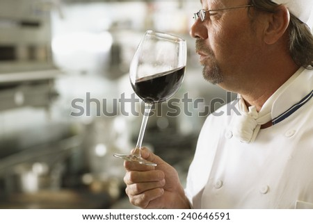Sommelier Smelling Wine - stock photo
