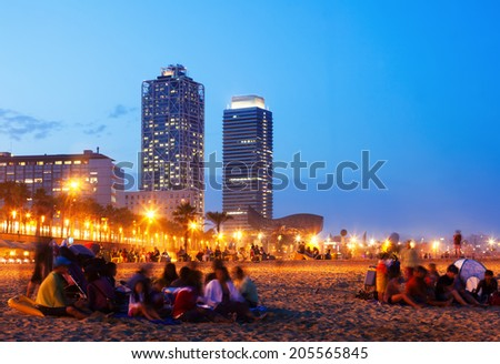 Somorrostro Beach   in summer evening. Barcelona, Spain - stock photo