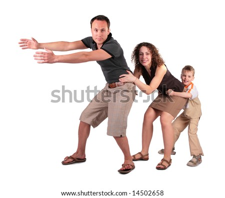 son and mother keep for father chain - stock photo