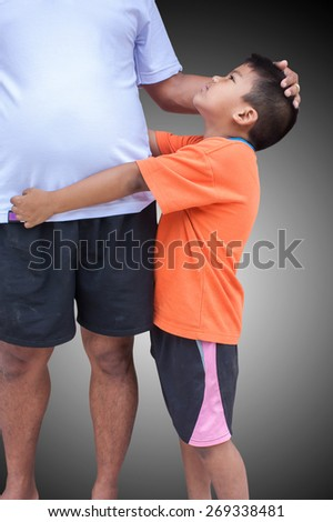 son embrace his father on isolate background - stock photo
