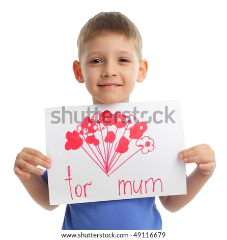 Son has drawn drawing for mother - stock photo