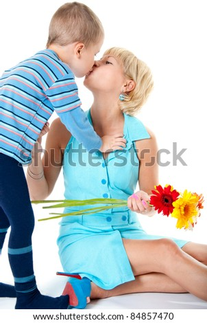Son kisses his mother favorite, white background