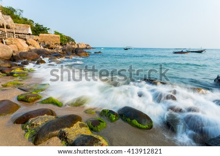 Son Tra island near Hai Van pass mountain in Da Nang, Vietnam . Son Tra island. Da Nang beach.