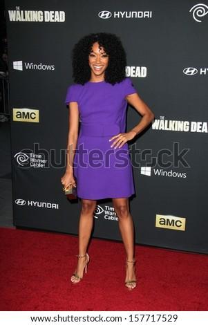 "Sonequa Martin-Green at ""The Walking Dead"" Season Four Premiere, AMC Universal Citywalk Stadium 19,  Universal City, CA 10-03-13 - stock photo"