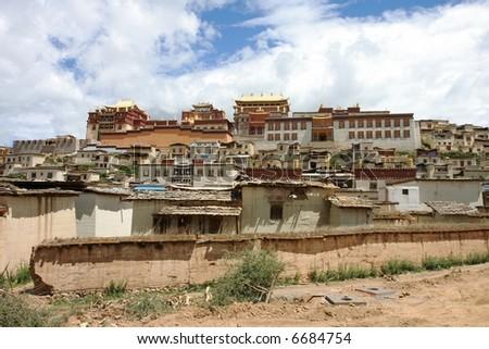 Song Zhangling Monastery in Zhongdian, Tibet, China - stock photo