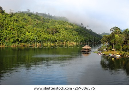 Songalia  River valley  in the morning with colorful mountain.Thailand