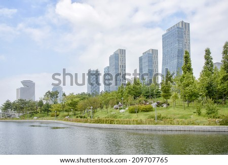 SongDo, KOREA - July 29, 2014: Songdo Central Park in Songdo International Business District - stock photo