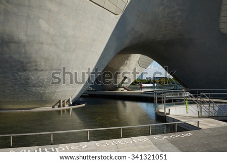 Songdo, Korea - September 07, 2015: Tri-Bowl. It's a multi-purpose, integrated cultural arts space and It includes an performance space, education about culture and art as well as exhibits.