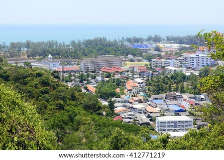 Songkhla cityscape with Songkhla lake background:select focus with shallow depth of field.