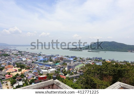 Songkhla cityscape with Songkhla lake background:select focus with shallow depth of field. - stock photo