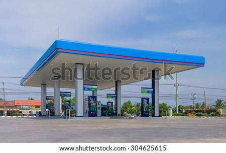 Songkhla, 27 june 2015: PTT gas station in Songkhla, Songkhla province, Thailand. PTT is largest oil company in Thailand