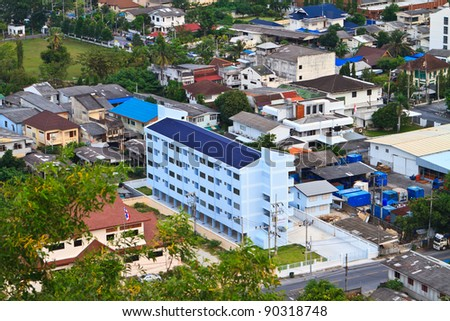 Songkhla South of Thailand with bird's eye view. - stock photo