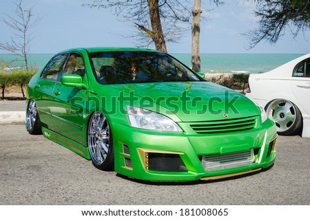 "SONGKHLA, THAILAND - March 09 : Tuned car Honda accord in ""Songkhla Car Club Show 2014"" at Samila beach on March 09,2014 in Songkhla, Thailand. - stock photo"