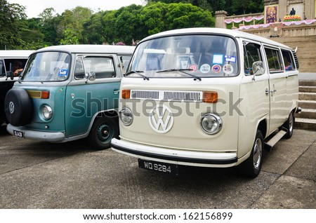 "SONGKHLA, THAILAND - November 09 : Vintage Volkswagen  car Meeting in ""Malaysian Green Camping"" at Hatyai Park on November 09,2013 in Songkhla, Thailand. - stock photo"