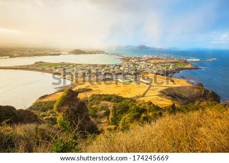 SONGSAN ILCHULBONG View Point in Jeju do , South Korea - stock photo