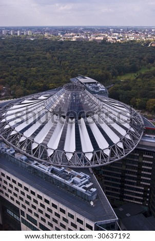 Sony Center in Berlin from above with the Tiergarten in the background - stock photo