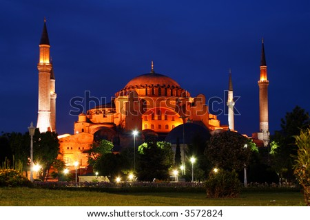 Sophia cathedral by night in Istanbul