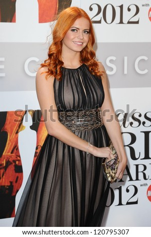 Sophie Evans arriving for the Classic Brit Awards 2012 at the Royal Albert Hall, London. 02/10/2012 Picture by: Steve Vas