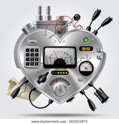 Sophisticated electronic device in the form of heart with the dashboard. Heart as computer system - stock photo