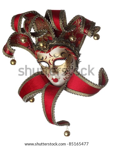Sophisticated venetian mask isolated against a white background. - stock photo