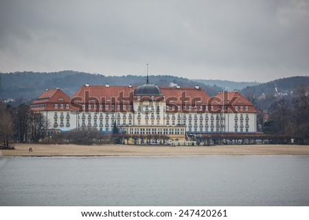 Sopot, Poland - December 01 2013: Morning in the holiday resort at winter time, Sopot, Poland