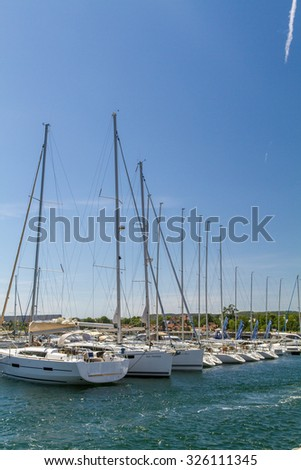 SOPOT, POLAND - JULY 22: Boats moored at the berth in Sopot, Poland on July 22, 2015