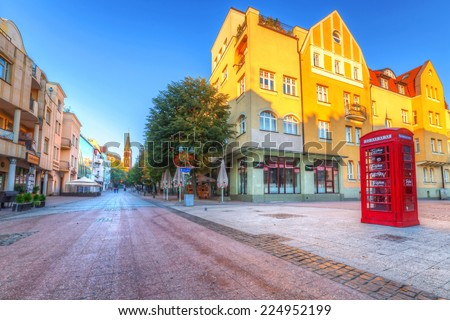 SOPOT, POLAND - 4 OCTOBER 2014: Heroes of Monte Cassino Street in Sopot at dawn. Sopot is major health and tourist resort destination and has the longest wooden pier in Europe. - stock photo