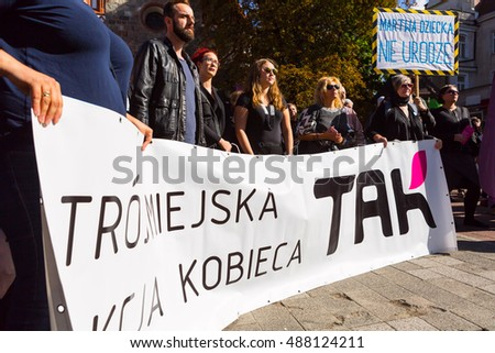 "Sopot, Poland, 2016 09 24 - protest against anti-abortion law forced by Polish government; people with banners saying: ""Theecity womans action"" and ""dead i can't give birth"""