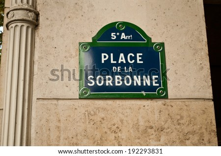 Sorbonne university street in Paris