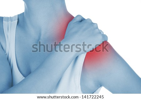 sore shoulder, shown red, keep handed, isolated on white background - stock photo
