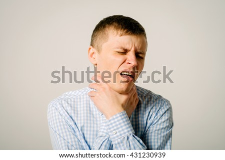sore throat man - stock photo