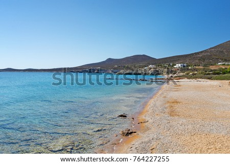 Soros beach of Antiparos island in Cyclades, Greece
