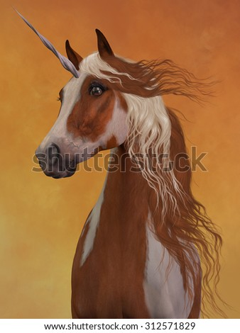 Sorrel Pinto Unicorn - The beauty and majesty of a sorrel pinto unicorn stand out against a golden background. - stock photo