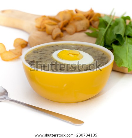 Sorrel soup with egg and greens. Selective focus. - stock photo