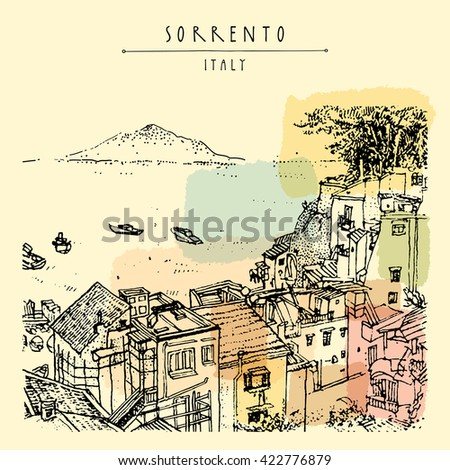 Sorrento, Italy, Europe. Above view. Vesuvio volcano, trees, sea. Sketchy line art. Artistic illustration drawing. Hand lettering. Touristic postcard poster template