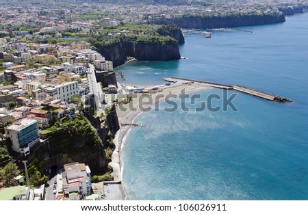 Sorrento - Small town in Campania, southern Italy. The town overlooks the Bay of Naples and Mount Vesuvius as the key place of the Sorrentine Peninsula (Tyrrhenian Sea). - stock photo