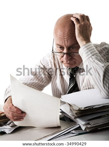 Sorrow of old accountant - stock photo