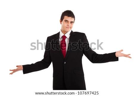Sorry businessman isolated on white - stock photo